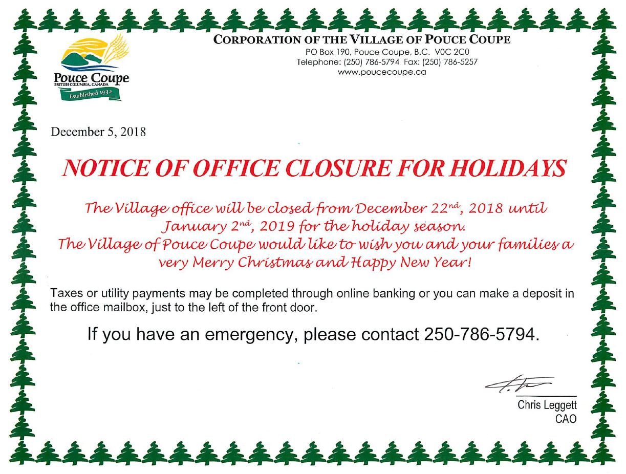 Notice Holiday Office Closure Pouce Coupe