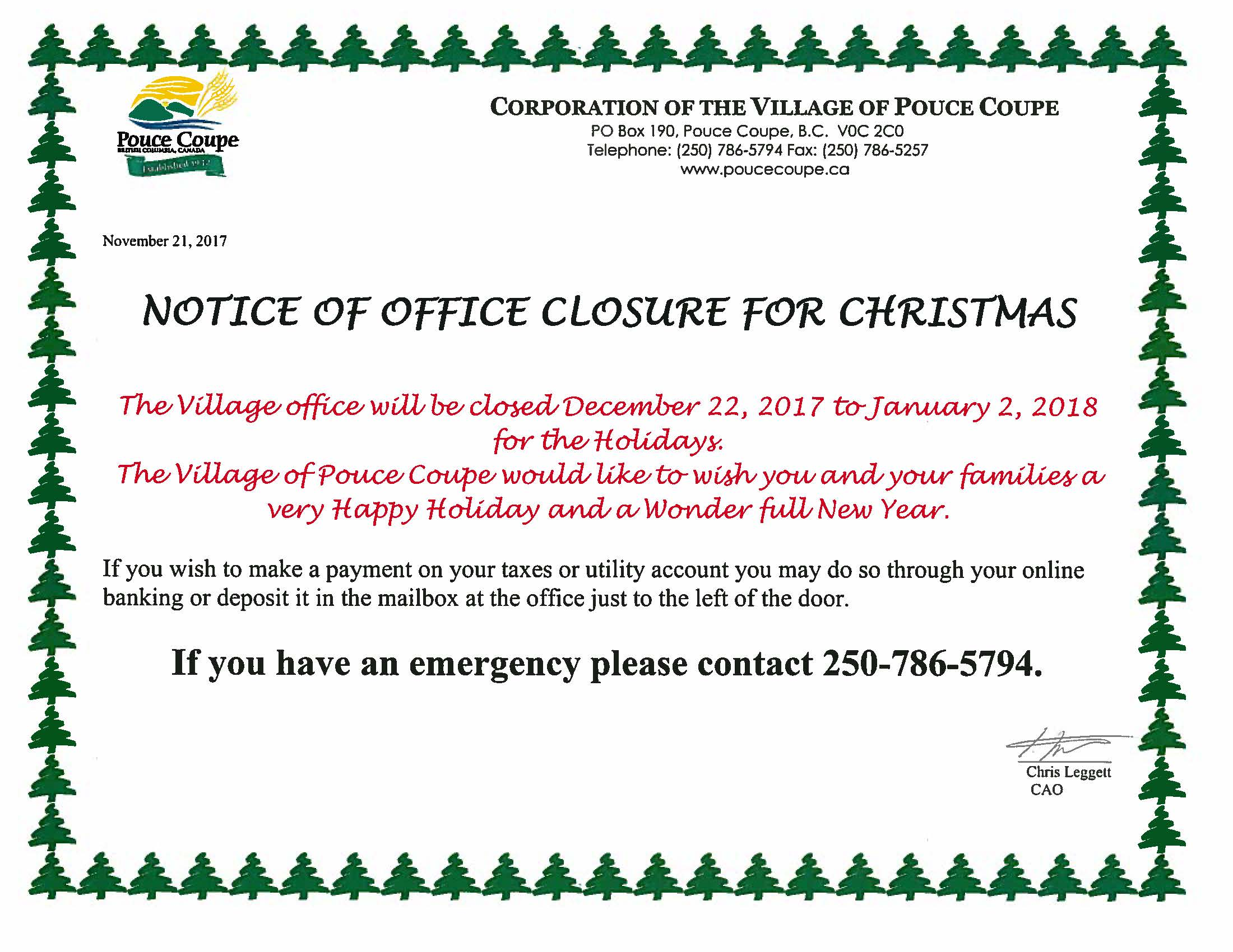 Holiday Closing Notice Sample